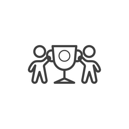 Two business man holding award cup line icon. linear style sign for mobile concept and web design. Team with trophy cup outline vector icon. Achievement symbol, logo illustration. Vector graphics Banque d'images - 140642916