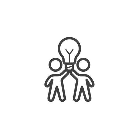 Creative thinking line icon. Two people with lamp linear style sign for mobile concept and web design. Teamwork idea lamp outline vector icon. Symbol, logo illustration. Vector graphics Banque d'images - 140642920