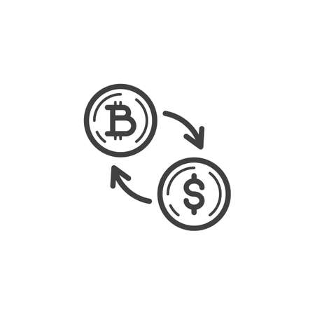 Dollar Currency Exchange Bitcoin line icon. linear style sign for mobile concept and web design. Foreign money exchange outline vector icon. Symbol, logo illustration. Vector graphics Banque d'images - 140642923