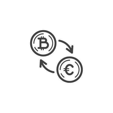 Euro Currency Exchange Bitcoin line icon. linear style sign for mobile concept and web design. Foreign money exchange outline vector icon. Symbol, logo illustration. Vector graphics Banque d'images - 140642925