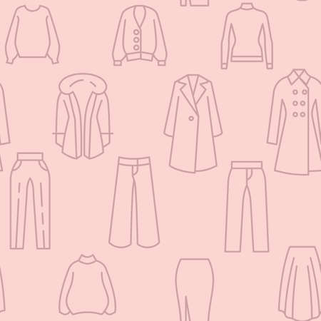 Female clothing icons pattern. Women clothes seamless background. Seamless pattern vector illustration 矢量图像
