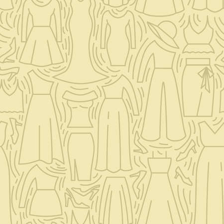 Woman Clothes and accessories icons pattern. Women clothing collection, seamless background. Seamless pattern vector illustration Banque d'images - 140642929