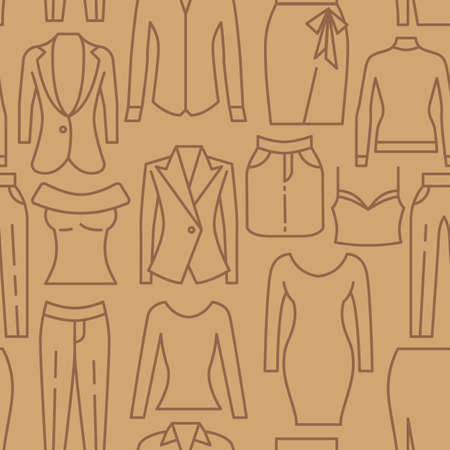 Women clothes icons pattern. Womens fashionable clothes seamless background. Seamless pattern vector illustration Banque d'images - 140642930