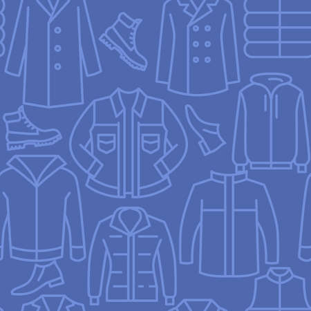 Casual mens clothing icons pattern. Male clothes seamless background. Seamless pattern vector illustration Banque d'images - 140642932