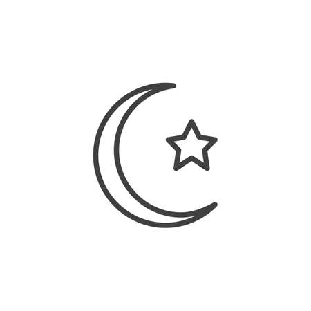 Crescent moon with star line icon. linear style sign for mobile concept and web design. Islamic moon and star outline vector icon. Symbol, logo illustration. Vector graphics Banque d'images - 140642936
