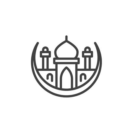 Islamic Mosque line icon. linear style sign for mobile concept and web design. Muslim moon and Mosque outline vector icon. Ramadan kareem symbol, logo illustration. Vector graphics