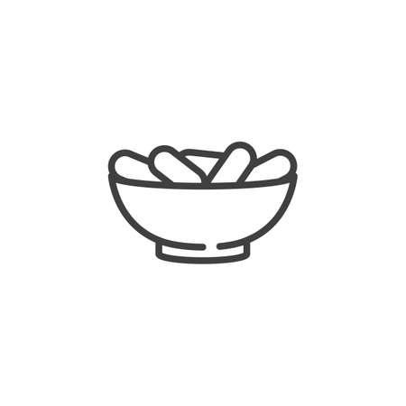 Dry dates bowl line icon. linear style sign for mobile concept and web design. Ramadan Iftar food outline vector icon. Symbol, logo illustration. Vector graphics