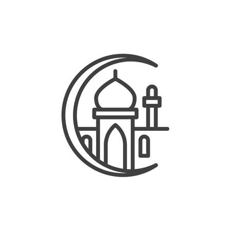 Islamic Mosque line icon. linear style sign for mobile concept and web design. Islamic moon and mosque outline vector icon. Ramadan Kareem symbol, logo illustration. Vector graphics Logo