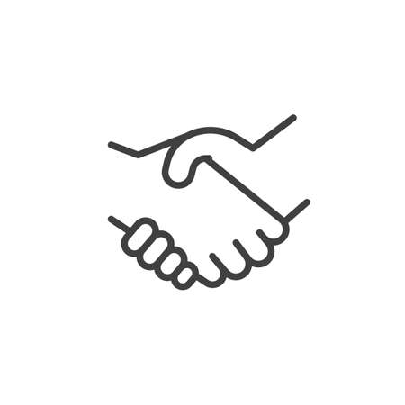 Icona della linea di stretta di mano. segno di stile lineare per il concetto mobile e il web design. Affare, icona del vettore del contorno del gesto della mano. Simbolo, illustrazione del logo. Grafica vettoriale