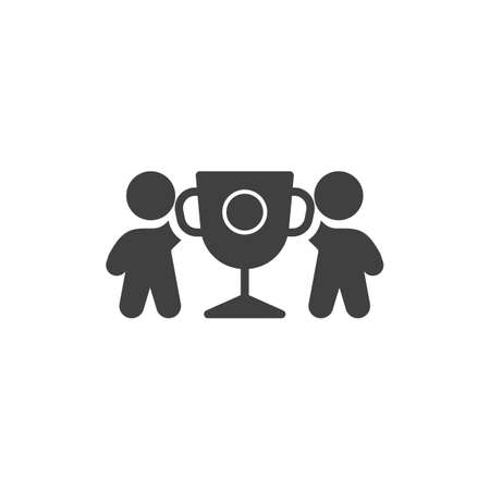 Two business man holding award cup vector icon. filled flat sign for mobile concept and web design. Team with trophy cup glyph icon. Achievement symbol, logo illustration. Vector graphics