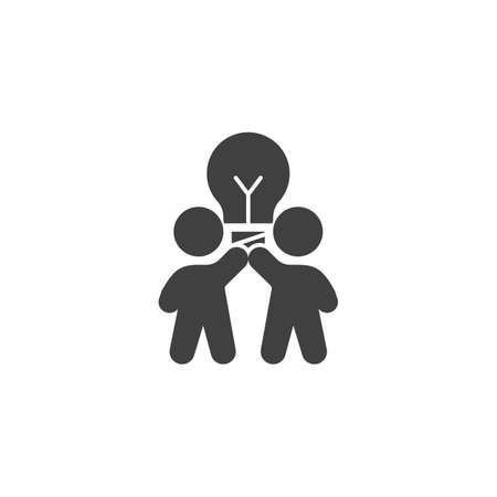 Creative thinking vector icon. Two people with lamp filled flat sign for mobile concept and web design. Teamwork idea lamp glyph icon. Symbol, logo illustration. Vector graphics
