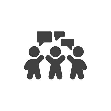 Business Meeting vector icon. People with speech bubble filled flat sign for mobile concept and web design. Discussion,debate glyph icon. Symbol, logo illustration. Vector graphics