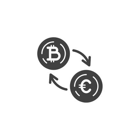 Dollar Currency Exchange Bitcoin vector icon. filled flat sign for mobile concept and web design. Foreign money exchange glyph icon. Symbol, logo illustration. Vector graphics