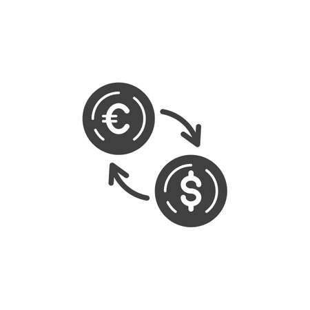 Euro Currency Exchange Dollar vector icon. filled flat sign for mobile concept and web design. Foreign money exchange glyph icon. Symbol, logo illustration. Vector graphics