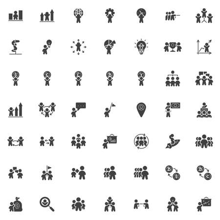 Business and finance vector icons set, modern solid symbol collection, filled style pictogram pack. Signs, logo illustration. Set includes icons as teamwork people, employee, financial presentation Ilustrace