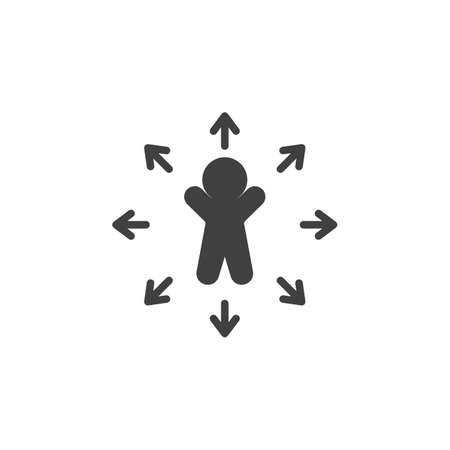 Decision Making vector icon. Career choice filled flat sign for mobile concept and web design. Man and arrows glyph icon. Symbol, logo illustration. Vector graphics Ilustrace