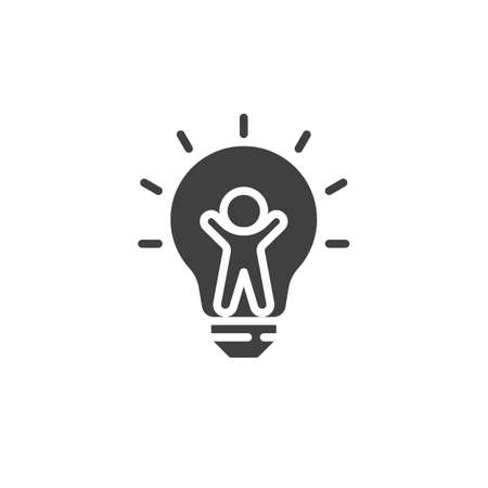 Man inside light bulb vector icon. filled flat sign for mobile concept and web design. Creative idea think glyph icon. Symbol, logo illustration. Vector graphics