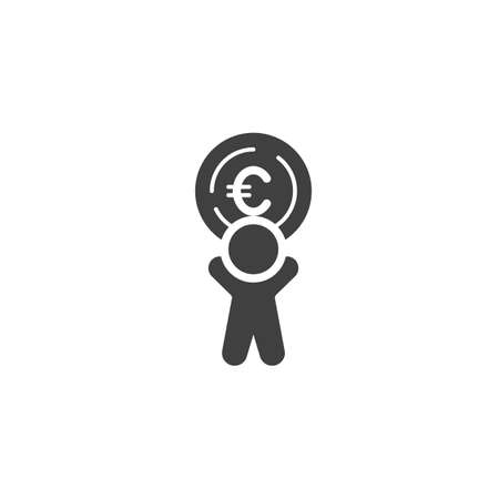 Man with euro coin vector icon. filled flat sign for mobile concept and web design. Making and Saving Money glyph icon. Currency exchange symbol, logo illustration. Vector graphics