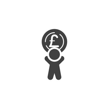 Man with British Pound coin vector icon. filled flat sign for mobile concept and web design. Making and Saving Money glyph icon. Currency exchange symbol, logo illustration. Vector graphics Ilustrace