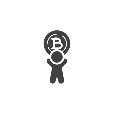 Man with bitcoin coin vector icon. filled flat sign for mobile concept and web design. Cryptocurrency mining glyph icon. Symbol, logo illustration. Vector graphics