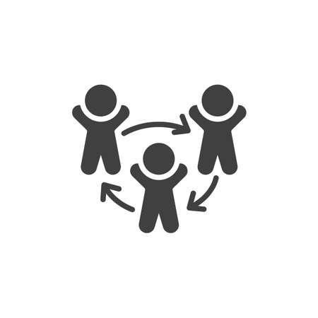 Three people and arrows vector icon. filled flat sign for mobile concept and web design. Staff or Employee Replacement glyph icon. Symbol, logo illustration. Vector graphics