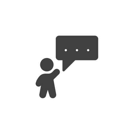 Man with speech bubble vector icon. filled flat sign for mobile concept and web design. Man talking glyph icon. Symbol, logo illustration. Vector graphics Ilustrace