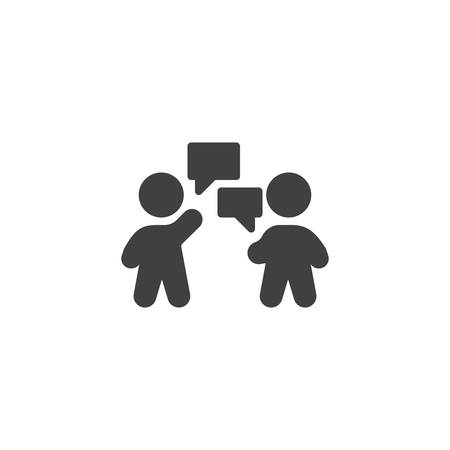 People conversation vector icon. Chat message filled flat sign for mobile concept and web design. Two people speech glyph icon. Symbol, logo illustration. Vector graphics