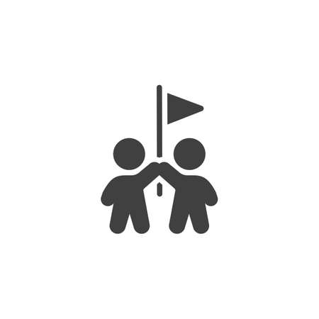 Two people with flag vector icon. filled flat sign for mobile concept and web design. Teamwork achievement glyph icon. Symbol, logo illustration. Vector graphics
