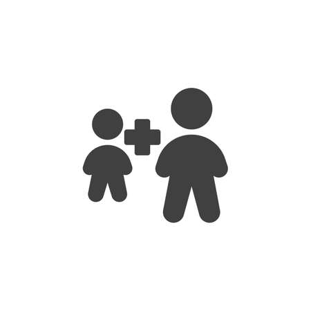 Employee plus vector icon. Two people plus filled flat sign for mobile concept and web design. Human resource glyph icon. Symbol, logo illustration. Vector graphics