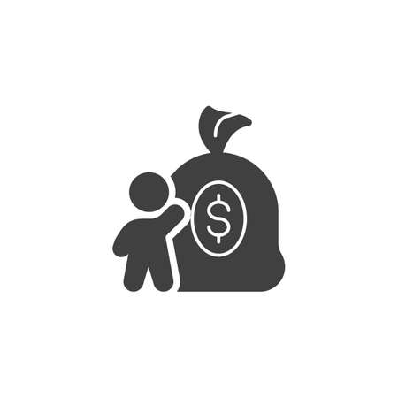 Money Investment vector icon. Man with money bag filled flat sign for mobile concept and web design. Money savings glyph icon. Symbol, logo illustration. Vector graphics Ilustrace