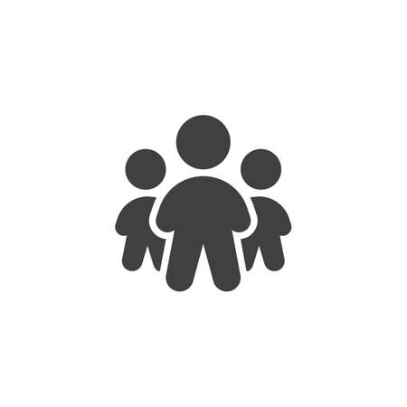 Team group vector icon. Three people standing filled flat sign for mobile concept and web design. Teamwork people group glyph icon. Symbol, logo illustration. Vector graphics Ilustrace