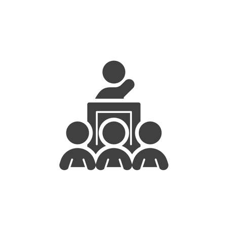 Business training speaker vector icon. filled flat sign for mobile concept and web design. Man on Conference podium glyph icon. Symbol, logo illustration. Vector graphics