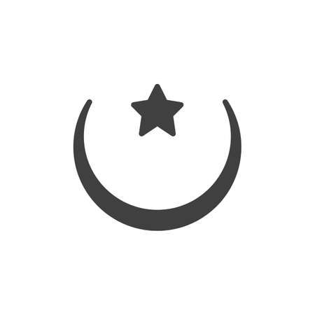 Islamic moon and star vector icon. filled flat sign for mobile concept and web design. Crescent moon and star glyph icon. Symbol, logo illustration. Vector graphics Ilustrace