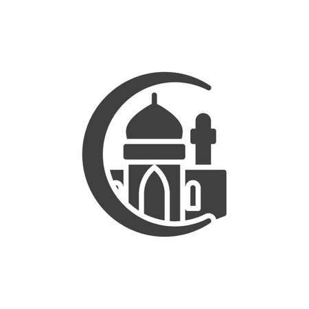 Islamic Mosque vector icon. filled flat sign for mobile concept and web design. Islamic moon and mosque glyph icon. Symbol, logo illustration. Vector graphics