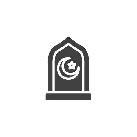 Ramadan Kareem vector icon. filled flat sign for mobile concept and web design. Mosque window with moon and star glyph icon. Symbol, logo illustration. Vector graphics Ilustração