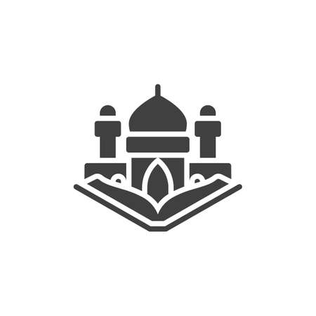 Quran book and Mosque vector icon. filled flat sign for mobile concept and web design. Ramadan Kareem glyph icon. Symbol, logo illustration. Vector graphics