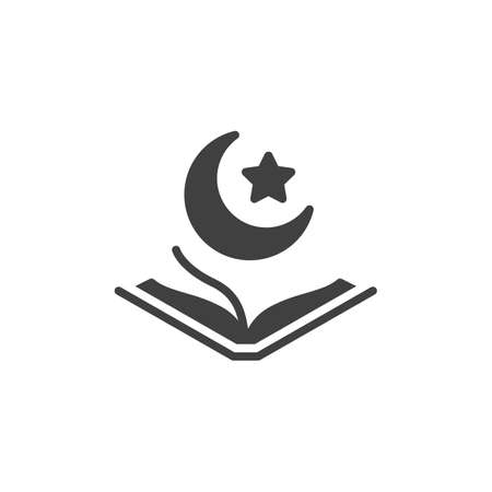 Quran book with Moon and Star vector icon. filled flat sign for mobile concept and web design. Ramadan Kareem glyph icon. Muslim religion symbol, logo illustration. Vector graphics
