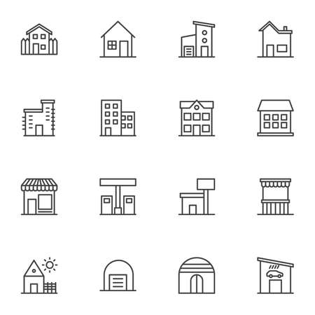 Buildings line icons set. Real estate linear style symbols collection, outline signs pack. vector graphics. Set includes icons as country house, office, garage, store front, oil station, school, home
