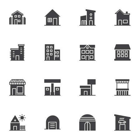 Buildings vector icons set, modern solid symbol collection, filled style pictogram pack. Signs, logo illustration. Set includes icons as real estate, country house, office, garage, school, home