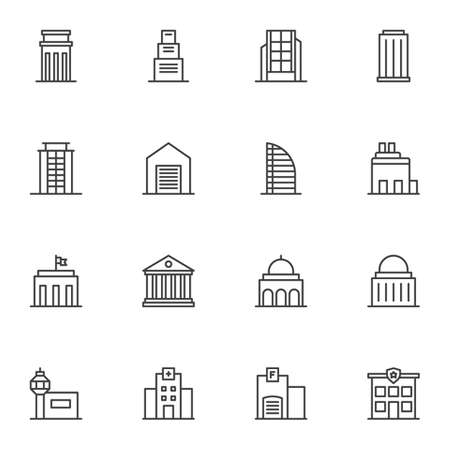 Public buildings line icons set. linear style symbols collection, outline signs pack. vector graphics. Set includes icons as townhouse, police department, courthouse, hospital, skyscraper office, home
