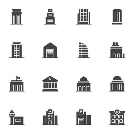 Public buildings vector icons set, modern solid symbol collection, filled style pictogram pack. Signs, logo illustration. Set includes icons as townhouse, police department, courthouse, hospital, home