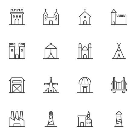 Buildings architecture vector icons set, modern solid symbol collection, filled style pictogram pack. Signs logo illustration. Set includes icons as church, castle, factory, bridge, mosque, lighthouse