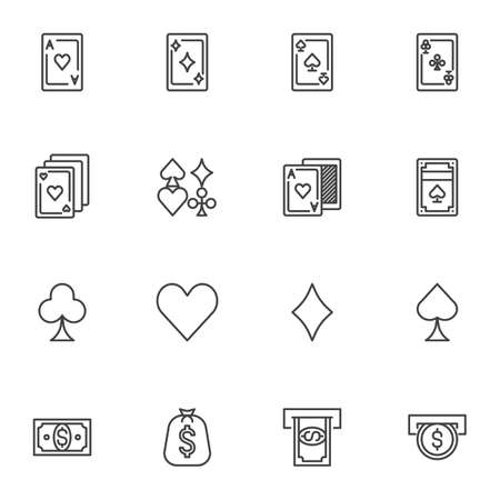 Casino gambling line icons set. linear style symbols collection, outline signs pack. vector graphics. Set includes icons as gaming cards, money slot, coin insert, ace of hearts, money bag, dollar bill