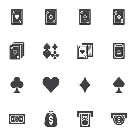 Casino cards vector icons set, modern solid symbol collection, filled style pictogram pack. Signs, logo illustration. Set includes icons as playing cards, money slot, coin insert, ace of hearts Ilustrace