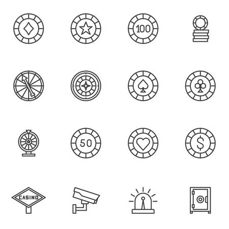 Poker chips line icons set. linear style symbols collection, casino chips outline signs pack. vector graphics. Set includes icons as gambling coins, bank safe, fortune wheel, security camera, bonus