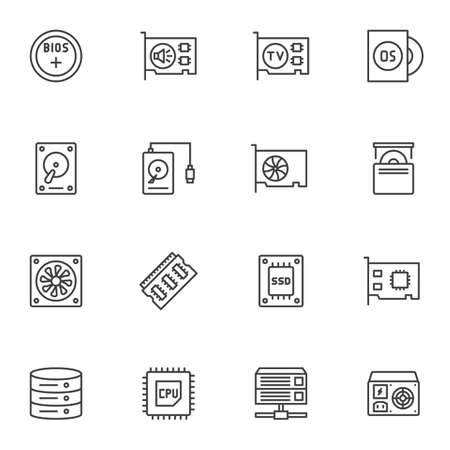 Computer electronics parts line icons set. Computer hardware linear style symbols collection, outline signs pack. vector graphics. Set includes icons as HDD, sound card, SSD, CPU processor, database Ilustracja