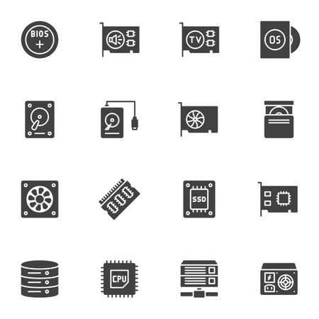 Computer electronics parts vector icons set, modern solid symbol collection, filled style pictogram pack. Signs, logo illustration. Set includes icons as HDD, sound card, SSD, CPU processor, database