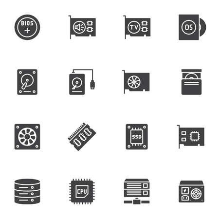 Ensemble d'icônes vectorielles de pièces d'électronique informatique, collection de symboles solides modernes, pack de pictogrammes de style rempli. Signes, illustration de logo. L'ensemble comprend des icônes comme disque dur, carte son, SSD, processeur CPU, base de données