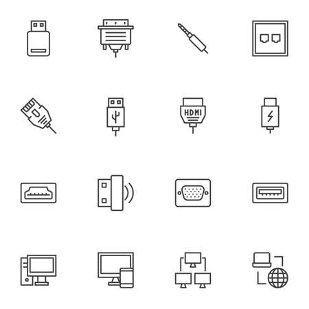 PC connectors and sockets line icons set. linear style symbols collection, outline signs pack. vector graphics. Set includes icons as HDMI cable, network connection, computer monitor, usb flash drive