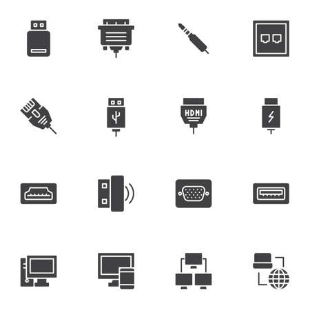 PC connectors and sockets vector icons set, modern solid symbol collection, filled style pictogram pack. Signs logo illustration. Set includes icons as HDMI cable, network connection, computer monitor